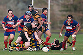 Robert Agnew goes to ground to claim the loose ball. Counties Manukau Premier Club Rugby semi final game between Ardmore Marist & Pukekohe played at Bruce Pulman Park Papakura on Saturday July 19th 2008. Ardmore Marist won 18 - 15 & will meet Patumahoe in the final next weekend.
