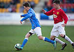 St Johnstone Academy v Manchester United Academy....17.04.15   <br /> Jamie McKenzie and Aiden Barlow<br /> Picture by Graeme Hart.<br /> Copyright Perthshire Picture Agency<br /> Tel: 01738 623350  Mobile: 07990 594431
