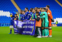 4th January 2020; Cardiff City Stadium, Cardiff, Glamorgan, Wales; English FA Cup Football, Cardiff City versus Carlisle; Cardiff City and Carlisle United line up for a photo for the Take a Minute campaign - Strictly Editorial Use Only. No use with unauthorized audio, video, data, fixture lists, club/league logos or 'live' services. Online in-match use limited to 120 images, no video emulation. No use in betting, games or single club/league/player publications