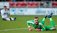 Rotherham United's Marek Rodak looks relieved after Preston North End's Graham Burke's shot flashes wide of the post<br /> <br /> Photographer David Shipman/CameraSport<br /> <br /> The EFL Sky Bet Championship - Rotherham United v Preston North End - Tuesday 1st January 2019 - New York Stadium - Rotherham<br /> <br /> World Copyright © 2019 CameraSport. All rights reserved. 43 Linden Ave. Countesthorpe. Leicester. England. LE8 5PG - Tel: +44 (0) 116 277 4147 - admin@camerasport.com - www.camerasport.com