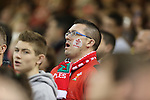A passionate Welsh fan signing the anthem.<br /> Dove Men Series 2014<br /> Wales v Fiji<br /> Millennium Stadium<br /> 15.11.14<br /> ©Steve Pope-SPORTINGWALES