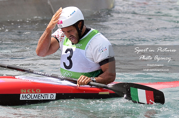 Daniele Molmenti (ITA) celebrates at the end of the race. Kayak K1 Men - PHOTO: Mandatory by-line: Garry Bowden/SIP/Pinnacle - Photo Agency UK Tel: +44(0)1363 881025 - Mobile:0797 1270 681 - VAT Reg No: 768 6958 48 - 01/08/2012 - 2012 Olympics - Greenwich, London, England.