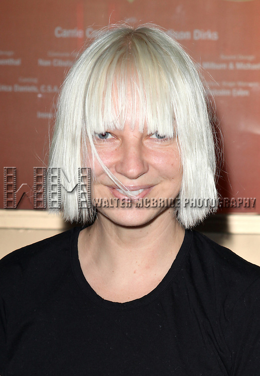 Sia Furler attending the Opening Night Performance of Edward Albee's 'Who's Afraid of Virginia Woolf?' at the Booth Theatre on October 13, 2012 in New York City.