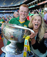 Johnny Buckley and his girlfriend Annie MacMonagle celebrate Kerry's victory over Donegal in Croke Park on Sunday.<br /> Picture by Don MacMonagle