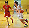 Mike Bizzoso #4 of Oyster Bay, right, looks to dribble past Mike Baltzer #4 of Wheatley during the Nassau County varsity boys basketball Class B final at LIU Post on Thursday, Feb. 18, 2016. Oyster Bay won by a score of 54-42.