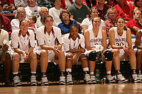 25 February 2006: Christy Titchenal, Morgan Clyburn, Markisha Coleman, Krista Rappahahn, and Brooke Smith during Stanford's 78-47 win over the Washington State Cougars at Maples Pavilion in Stanford, CA.