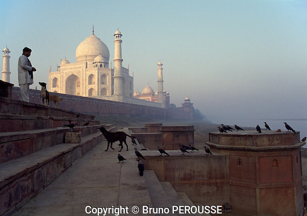 Asie, Inde du nord, état de l'Uttar Pradesh, le Taj Mahal construit par Shah Jahan de 1631 à 1653 et classé au patrimoine mondial par l'Unesco//Asia, north India, Uttar Pradesh state, Taj Mahal built by Shah Jahan from 1631 to 1653 and classified at the Unesco world heritage