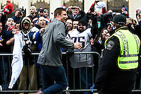 February 4, 2015 - Boston, Massachusetts, U.S. -  New England Patriots tight end Rob Gronkowski (87) celebrates with fans during a parade held in Boston to celebrate the team's victory over the Seattle Seahawks in Super Bowl XLIX. Eric Canha/CSM