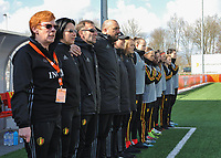 20180326 - ZALTBOMMEL , THE NETHERLANDS : Belgian technical staff pictured during the UEFA Women Under 17 Elite round game between Belgium WU17 and Romania WU17, on the second matchday in group 1 of the Uefa Women Under 17 elite round in The Netherlands , monday 26 th March 2018 . PHOTO SPORTPIX.BE    DIRK VUYLSTEKE