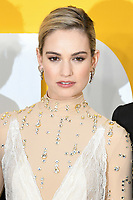 "LONDON, UK. June 18, 2019: Lily James arriving for the UK premiere of ""Yesterday"" at the Odeon Luxe, Leicester Square, London.<br /> Picture: Steve Vas/Featureflash"