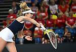 Katie Boulter (Great Britain) serves. Rubber 4. Great Britain v Kazakhstan. World group II play-off. BNP Parebas Fed Cup. Copper Box arena. Queen Elizabeth Olympic Park. Stratford. LondonUK. 21/04/2019. ~ MANDATORY Credit Garry Bowden/Sportinpictures - NO UNAUTHORISED USE - 07837 394578
