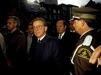 FILE PHOTO -  Gerard D Levesque au funerailles de Rene Levesque a Quebec, le 5 novembre 1987<br /> <br /> PHOTO :   Agence quebec Presse