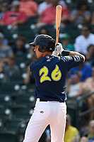 Third baseman Colby Woodmansee (26) of the Columbia Fireflies bats in a game against the Rome Braves on Sunday, July 2, 2017, at Spirit Communications Park in Columbia, South Carolina. Columbia won, 3-2. (Tom Priddy/Four Seam Images)