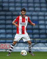 Alex Byrne of Exeter City during the The Checkatrade Trophy match between Oxford United and Exeter City at the Kassam Stadium, Oxford, England on 30 August 2016. Photo by Andy Rowland / PRiME Media Images.