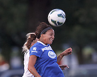 Boston Breakers forward Sydney Leroux (2) battle for head ball.  In a National Women's Soccer League (NWSL) match, Boston Breakers (blue) defeated Portland Thorns FC (white/black), 2-1, at Dilboy Stadium on August 7, 2013.