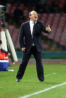 Thursday 27 February 2014<br /> Pictured: Napoli manager Rafa Benitez shouts instructions to his players<br /> Re: UEFA Europa League, SSC Napoli v Swansea City FC at Stadio San Paolo, Naples, Italy.