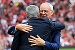 Leicester City manager Claudio Ranieri greets Manchester United manager Jose Mourinho during the Premier League match at Old Trafford Stadium, Manchester. Picture date: September 24th, 2016. Pic Sportimage