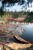A canoe on the Big Two-Hearted River near Newberry in Michigans Upper Peninsula.