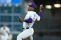 LSU Tigers relief pitcher Jaden Hill (44) in action against the Texas Longhorns in game three of the 2020 Shriners Hospitals for Children College Classic at Minute Maid Park on February 28, 2020 in Houston, Texas. The Tigers defeated the Longhorns 4-3. (Brian Westerholt/Four Seam Images)