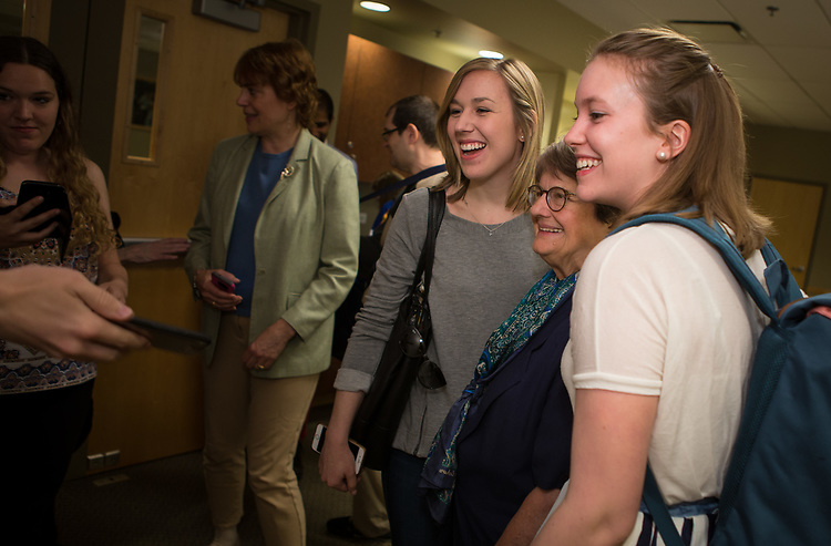 "Students pose for photos with author and anti-death penalty crusader Sister Helen Prejean, C.S.J., during a breakfast Wednesday, April 19, 2017, at DePaul University's Lincoln Park Campus. Prejean is the author of the widely acclaimed book ""Dead Man Walking"" and is known for her work as an educator about the death penalty and counselor for death row inmates.The event was hosted by the Department of Catholic Studies. (DePaul University/Jeff Carrion)"