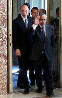 Il Presidente del Consiglio Enrico Letta ed il Primo Ministro libico Ali Zeidan a destra, arrivano per una conferenza stampa congiunta al termine del loro incontro a Palazzo Chigi, Roma, 4 luglio 2013.<br /> Italian Premier Enrico Letta and Libyan Prime Minister Ali Zeidan, right, arrive for a joint press conference at the end of their meeting at Chigi Palace, Rome, 4 July 2013.<br /> UPDATE IMAGES PRESS/Isabella Bonotto