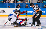 PyeongChang 15/3/2018 - Billy Bridges (#18), of Summerside, PEI, takes the faceoff as Canada takes on Korea in semifinal hockey action at the Gangneung Hockey Centre during the 2018 Winter Paralympic Games in Pyeongchang, Korea. Photo: Dave Holland/Canadian Paralympic Committee