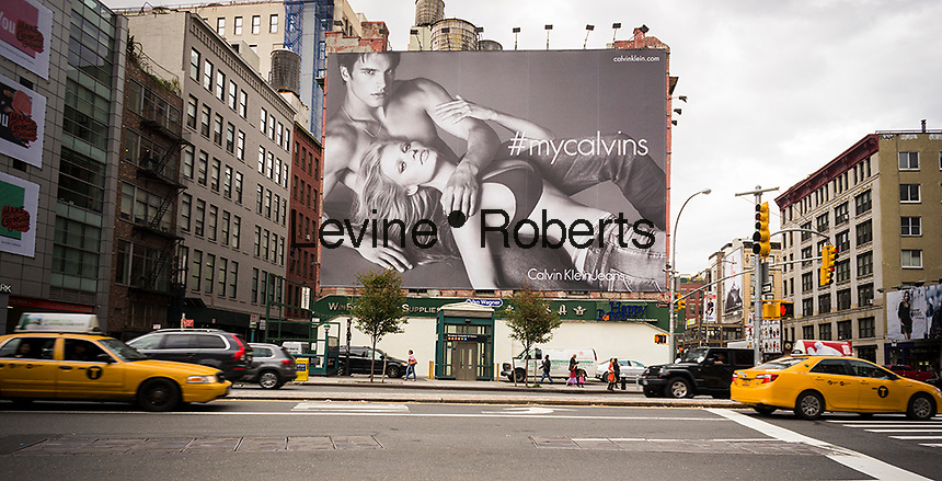 A Calvin Klein billboard in the Soho neighborhood of New York on Saturday, October 18, 2014. Klein's advertisements use sex and provocative images to test society's cultural and moral boundaries. (© Richard B. Levine)