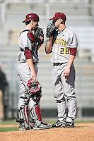 February 21, 2009:  Catcher Kyle Knudson (4) and Pitcher Luke Rasmussen (28) of the University of Minnesota during the Big East-Big Ten Challenge at Jack Russell Stadium in Clearwater, FL.  Photo by:  Mike Janes/Four Seam Images