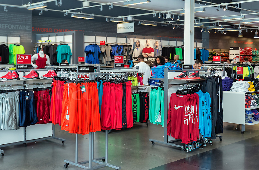 Nike outlet store interior product displays.,