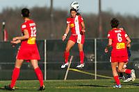 Western New York Flash forward Samantha Kerr (4). Sky Blue FC defeated the Western New York Flash 1-0 during a National Women's Soccer League (NWSL) match at Yurcak Field in Piscataway, NJ, on April 14, 2013.