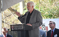 NWA Democrat-Gazette/DAVID GOTTSCHALK  Grady Harvell, president, W&W/AFCO Steel Inc., speaks Monday, November 4, 2019, during a groundbreaking ceremony for the Civil Engineering Research and Education Center at the University of Arkansas Research and Technology Park in Fayetteville. The center will allow researchers, government organizations and industrial partners from across the state to conduct cutting-edge research. Students will use the center's design and construction process to explore topics in construction techniques and management, computer-aided design and drafting, plan development, construction materials, soil mechanics and foundation design, structural steel design and reinforced concrete design.