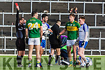 Referee Derek O'Mahony gives Kerry Bryan Sheehan a red card after he lashed out against Kieran Hughes Monaghan  during their NFL clash in Fitzgerald Stadium on Sunday