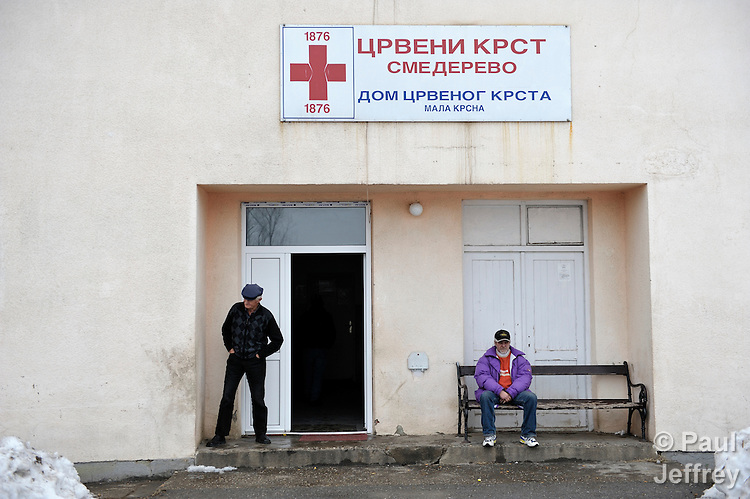A shelter established by the Red Cross in Smederevo, Serbia. Church World Service has provided affected families here with food and other emergency supplies. Many of the families are Roma.
