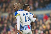 Armando Cooper of Panama is pulled away by Felipe Baloy of Panama during the International Friendly match between Wales and Panama at the Cardiff City Stadium, Cardiff, Wales on 14 November 2017. Photo by Mark Hawkins.