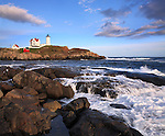 Late Afternoon Sunshine Bathes The Nubble Light, A Pastoral New England Seascape And A Truly Classic Lighthouse, Cape Neddick, Maine, USA
