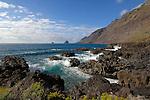 Waves crashing onto rocky coastline. Roques de Salmor, El Hierro, Canary Islands.
