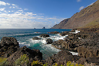 Waves crashing onto rocky coastline. Roques de Salmor, El Hierro, Canary Islands.
