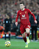 27th October 2019; Anfield, Liverpool, Merseyside, England; English Premier League Football, Liverpool versus Tottenham Hotspur; Andy Robertson of Liverpool sprints with the ball along the left wing - Strictly Editorial Use Only. No use with unauthorized audio, video, data, fixture lists, club/league logos or 'live' services. Online in-match use limited to 120 images, no video emulation. No use in betting, games or single club/league/player publications