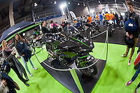 VALENCIA, SPAIN - NOVEMBER 7: Kawasaki stand during DOS RODES at Feria Valencia on November 7, 2015 in Valencia, Spain
