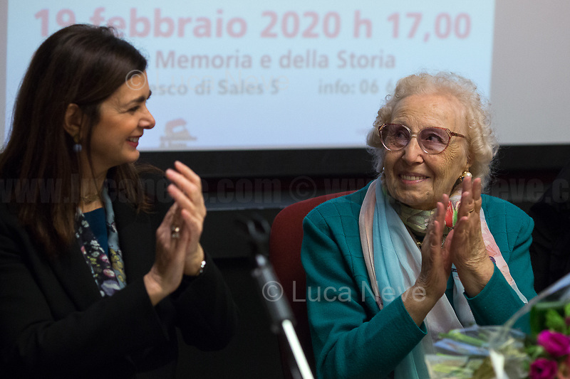 """Rome, 19/02/2020. Today, ANPI Roma (National Association of Italian Partizans, Members of the WWII Italian Resistance) celebrated the 100th birthday of Partizan Iole Mancini holding a fully booked public event at the Casa della Memoria e della Storia di Roma (House of Memory and History of Rome). From the ANPI event page: «Iole, belonging to the Roman Resistance, was arrested during the days immediately before the liberation of Rome. She was interrogated and tortured by the SS (by Kappler himself) in Via Tasso prison, in an attempt to extort the place where her boyfriend Ernesto Borghesi was hiding, gappista (*), but without success. Fleeing the arrival of the Allies, the Germans loaded all the prisoners detained in the prison onto three trucks, but the truck on which Iole had been placed did not leave due to a breakdown. All the other prisoners were killed in La Storta. Today it is still with us, with her splendid 100 years, and we celebrate it with pride and gratitude».<br /> (*) The GAPs - Gruppi di Azione Patriottica (Patriotic Action Groups, https://bit.ly/2K3jCmJ) were famous because their members, called """"Gappisti"""", carried out acts of sabotage & guerrilla warfare against nazi-fascist troops in cities such as Rome, Milan, Genova, Bologna and others.<br /> <br /> Footnotes & Links:<br /> 1. http://bit.do/fwe8Z<br /> http://www.anpiroma.org<br /> Le Grandi Novantenni, Iole Mancini torturata dalle Ss: """"Quello che accade oggi mi fa paura"""" (Source, laStampa.it, ITA) http://bit.do/fwfbz<br /> 25 Aprile at Ferramonti concentration camp http://bit.do/fwfgf<br /> Bella Ciao Tina Costa: Homage to a Partizan http://bit.do/fwffV<br /> Mario Fiorentini:100th Birthday of a Partizan http://bit.do/fwfeP<br /> forza nuova (far-right) Rally - ANPI & Antifascists Counter Protest https://bit.ly/2qC4ZuE<br /> Centocelle: Gold Medal For Antifascist Resistance https://bit.ly/2AVgnHV<br /> 25 Aprile Evviva I Partigiani https://bit.ly/2kO5wqg"""