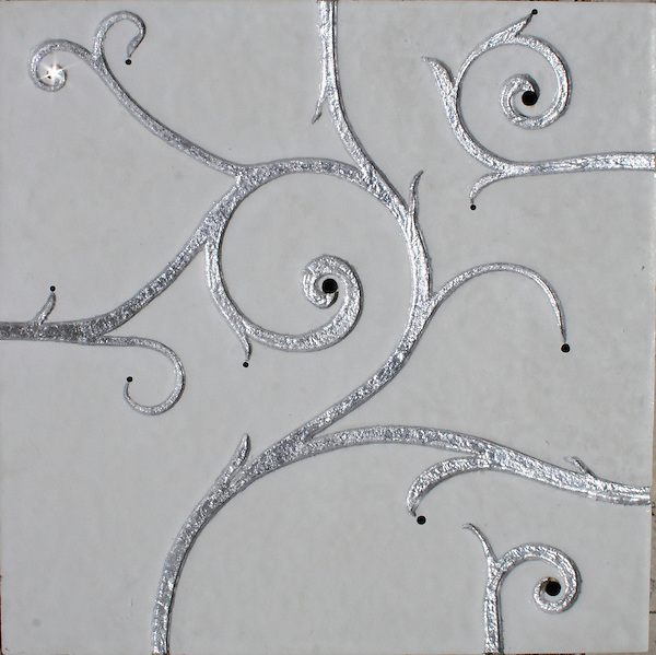GIovanni Barbieri Flamboyant Collection White limestone etched finish with silver leaf and black Swarovski crystal