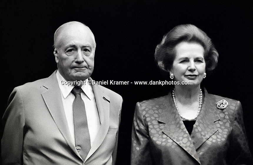 Walter Annenberg and Margaret Thatcher pose for a picture at the Desert Town Hall Lecture Series in Indian Wells, California in 1993.