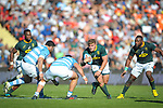 06/09/2018. Malvinas Argentinas Stadium, Mendoza, Argentina. The Rugby Championship 2018, Round 2, Los Pumas beat the Spingboks at home 32 to 19. Malcom Marx facing Los Pumas defensive line during first half of the match. /Maximiliano Aceiton/Trysportimages