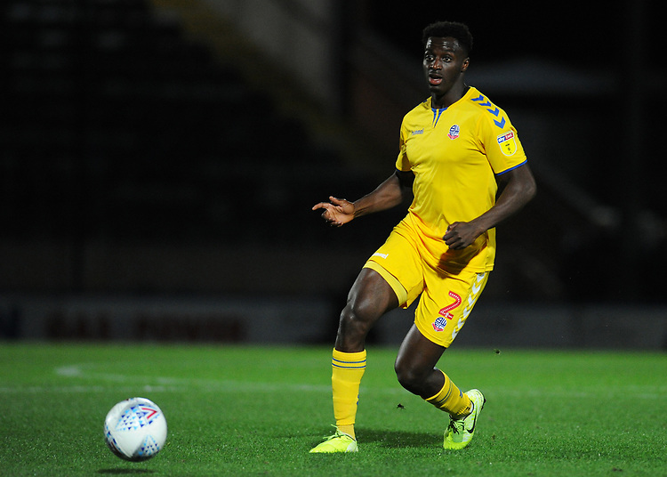 Bolton Wanderers' Josh Emmanuel<br /> <br /> Photographer Kevin Barnes/CameraSport<br /> <br /> EFL Leasing.com Trophy - Northern Section - Group F - Rochdale v Bolton Wanderers - Tuesday 1st October 2019  - University of Bolton Stadium - Bolton<br />  <br /> World Copyright © 2018 CameraSport. All rights reserved. 43 Linden Ave. Countesthorpe. Leicester. England. LE8 5PG - Tel: +44 (0) 116 277 4147 - admin@camerasport.com - www.camerasport.com