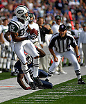 30 September 2007: New York Jets wide receiver Laveranues Coles (87) pulls in a Chad Pennington pass in the fourth quarter against the Buffalo Bills at Ralph Wilson Stadium in Orchard Park, NY. The Bills defeated the Jets 17-14 handing the Jets their third loss of the season...Mandatory Photo Credit: Ed Wolfstein Photo