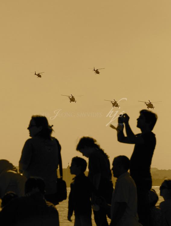 People watching the air show, Qatar National Day celebration, Corniche, Doha, Qatar | Dec 10