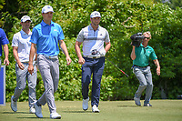 Jordan Spieth (USA), Wesley Bryan (USA), and Jon Rahm (ESP) head down 2 during Round 2 of the Zurich Classic of New Orl, TPC Louisiana, Avondale, Louisiana, USA. 4/27/2018.<br /> Picture: Golffile | Ken Murray<br /> <br /> <br /> All photo usage must carry mandatory copyright credit (&copy; Golffile | Ken Murray)