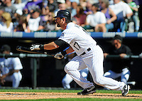 09 April 2010: Colorado Rockies first baseman Todd Helton during a Major League Baseball game between the Colorado Rockies and the San Diego Padres at Coors Field in Denver,  Colorado. The Rockies beat the Padres 7-0 in the Coors Field home opener.  *****For Editorial Use Only*****