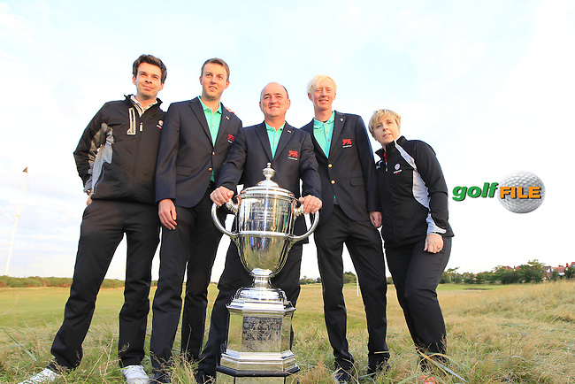 The GB&amp;Ireland team members Ashley Chesters (ENG), Nigel Edwards (GB&amp;Ireland team captain), Jimmy Mullen (ENG) after the closing ceremony for the Walker cup Royal Lytham St Annes, Lytham St Annes, Lancashire, England. 13/09/2015<br /> Picture Golffile | Fran Caffrey<br /> <br /> <br /> All photo usage must carry mandatory copyright credit (&copy; Golffile | Fran Caffrey)