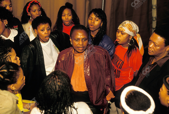 Miriam Makeba performs with the cast from the Broadway show Sarafina at Radio City Music Hall in New York City, April 1988